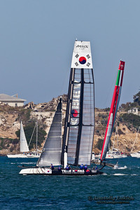 SAN FRANCISCO, CA - OCTOBER 7:  Korean and Italian teams race in Louis Vuitton Cup part of America's Cup World Series on Oct 7, 2012 in San Francisco, CA.