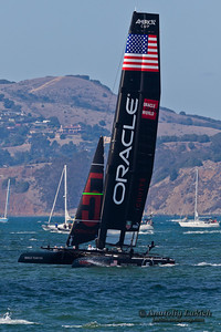 SAN FRANCISCO, CA - OCTOBER 7: Team Oracle USA race in Louis Vuitton Cup part of America's Cup World Series on Oct 7, 2012 in San Francisco, CA.