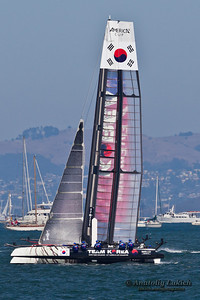 SAN FRANCISCO, CA - OCTOBER 7:  Korean team race in Louis Vuitton Cup part of America's Cup World Series on Oct 7, 2012 in San Francisco, CA.